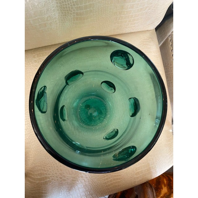 Mid-Century Murano Green Glass Vase For Sale - Image 9 of 13