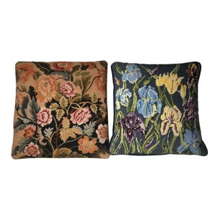 1990s Floral Needlepoint Rose & Iris Pillows - A Pair For Sale