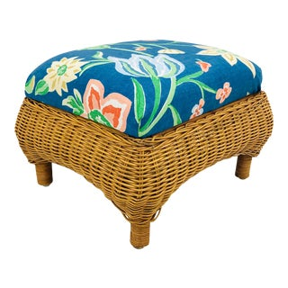 Vintage Woven Wicker Foot Stool For Sale