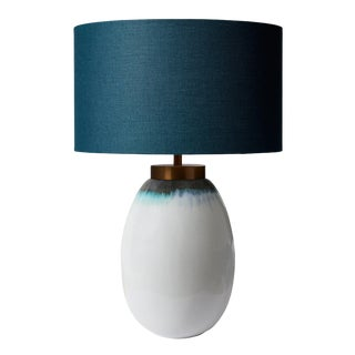 Ceramic Hand Made Table Lamp With Shade For Sale