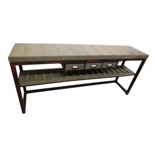Industrial Rustic Handmade Console Table For Sale