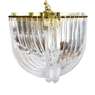 Sculptural 1970s Italian Mid Century Lucite Acrylic Ribbon Prism Swag Chandelier in the Style of Triedri and Carlo Nason 1980s For Sale