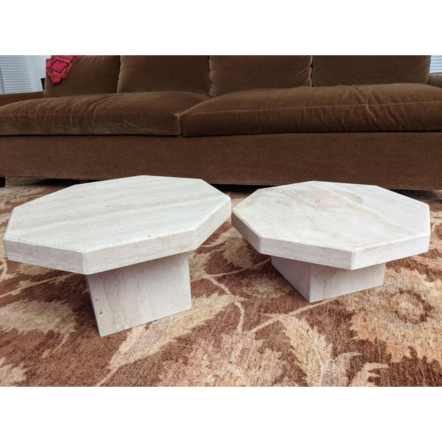 1970s Octagonal Travertine Low Tables - a Pair For Sale In Dallas - Image 6 of 9