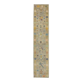 Contemporary Turkish Oushak Runner in Pastel Colors with Tribal Boho Chic Style