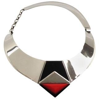 Fabrice Paris Signed Necklace Art Deco Revival Chrome Enamel Resin For Sale