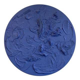 Blue Round Abstract Painting Contemporary Art For Sale