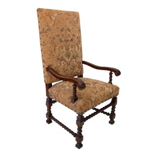 Georgian Style Barley Twist Throne Chair For Sale