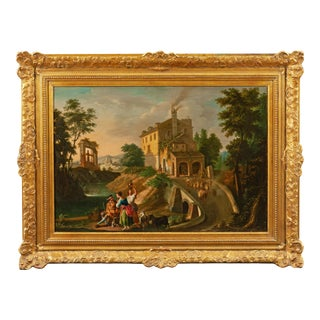 """18th Century Spanish """"Pastoral Scene"""" Oil Painting, 1780-1800 For Sale"""