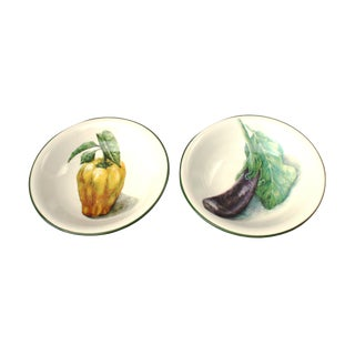 Handpainted Italian Vegetable Bowls - A Pair For Sale