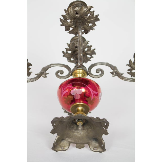 Gold Cranberry Glass Candelabra - A Pair For Sale - Image 8 of 9