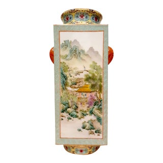 Early 20th Century Chinese Porcelain Landscapes and Garden Scenes Cong Vase For Sale