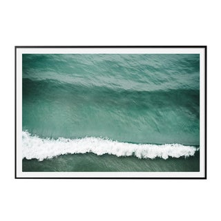 """Crest"" Large Aerial Ocean Wave Surf Photograph Coastal Art 48"" X 32"" Black Frame For Sale"