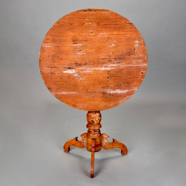 Cottage 19th Century Swedish Tilt Top Table With Original Red Brown Paint For Sale - Image 3 of 6