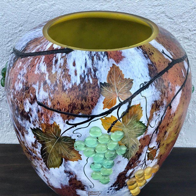 Glass Large Art Glass Vase With Applied Grapes, After Daum Nancy For Sale - Image 7 of 13