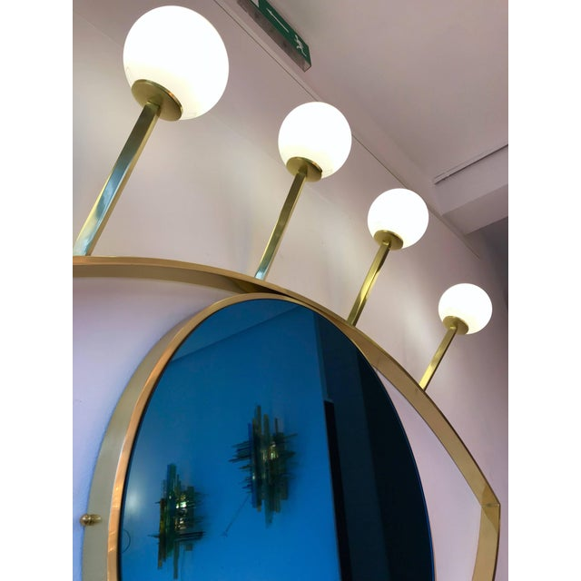 2010s Contemporary Brass Wall Lightning Mirror Sconces Blue Eyes, Italy For Sale - Image 5 of 10