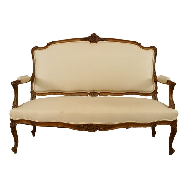 French Louis XV Walnut Settee For Sale