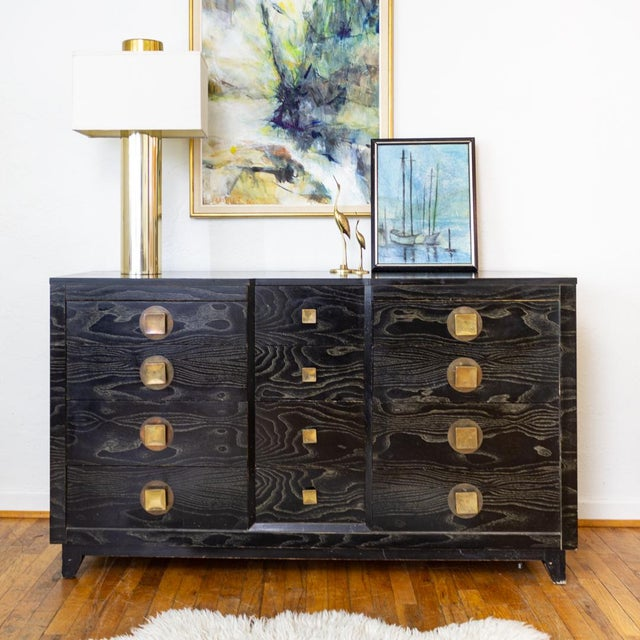 Mid Century Nightstands | Black and Brass | Huntley Furniture For Sale - Image 10 of 13
