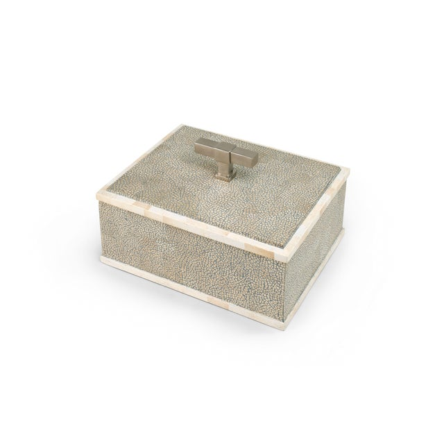 Contemporary T Handle Box Nickel in Grey / Nickel - Steven Gambrel for The Lacquer Company For Sale - Image 3 of 3