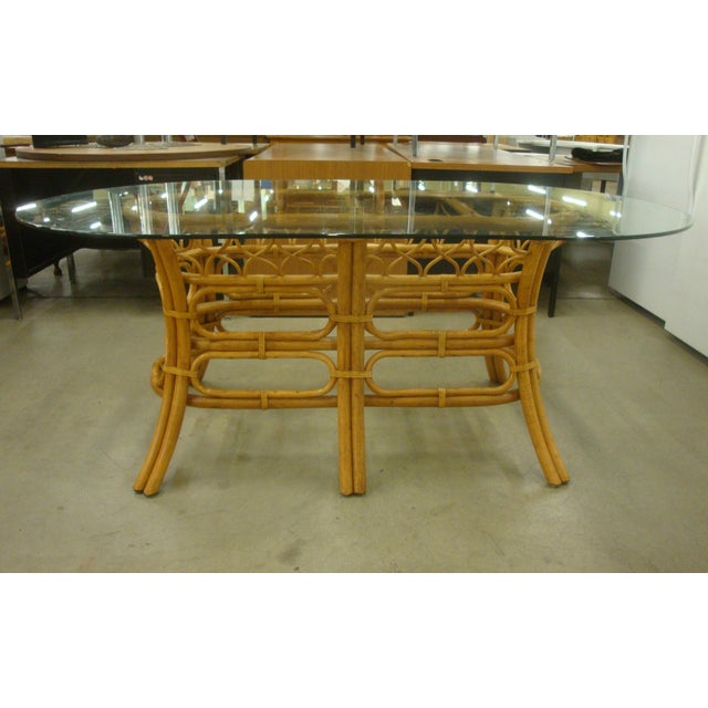 Chinoiserie Rattan Glass Dining Table 6 Chairs Like Mcguire on Vintage Ficks Reed Rattan Furniture