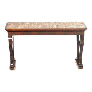 19th C. French Marble Top Console With Paw Feet For Sale