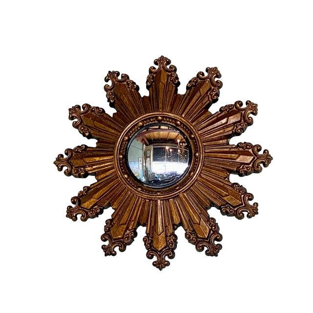 Mid-Century Modern Vintage Small Gilt Convex Starburst Mirror For Sale - Image 3 of 5