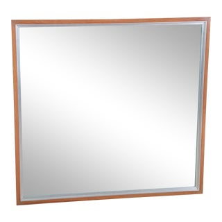 Paul McCobb for Calvin Linear Group Mid-Century Walnut and Aluminum Wall Mirror For Sale