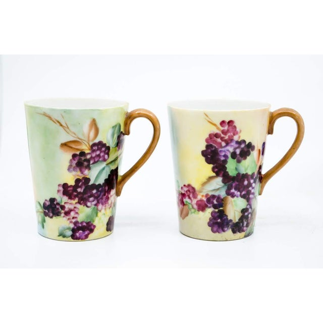 20th C. Victorian Pitcher, Plate and Glasses Grape Motif by Limoges - Set of 8 For Sale - Image 10 of 13