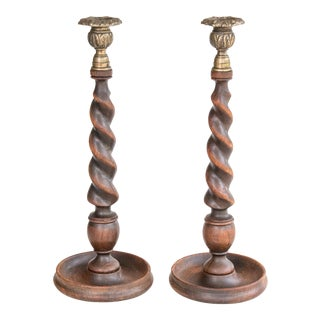 Tall Antique English Barley Twist Oak and Brass Candlesticks - a Pair For Sale