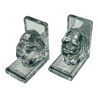 Art Deco Nymph Molded Glass Bookends by New Martinsville, Circa 1938 For Sale
