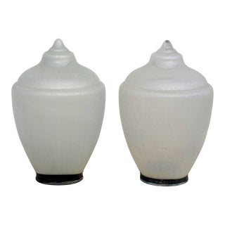 1920s Heavy Pressed Glass Decorative Street Light Finials - a Pair For Sale