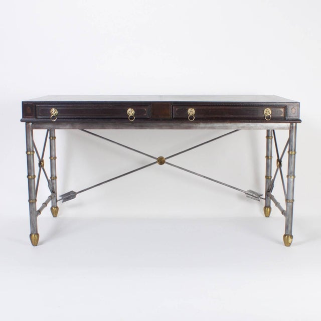 Here is a handsome Maitland Smith desk or writing table with an unusual combination of materials and influences. The top...
