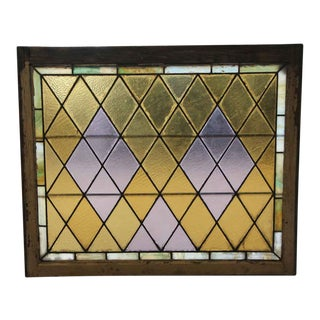 Antique 36 X 42 Purple & Yellow Stained Glass Window For Sale