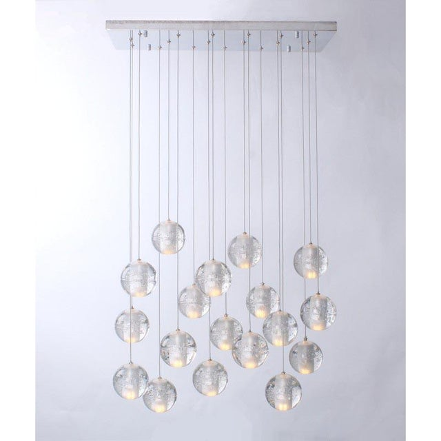 Transparent Modern Meteor Shower Chandelier For Sale - Image 8 of 11