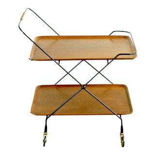 Scandinavian Modern Teak Folding Serving Table or Bar Cart