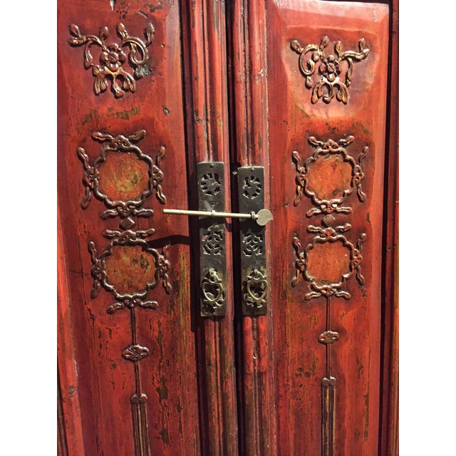 Antique Chinese Red Carved Cabinet - Image 4 of 9