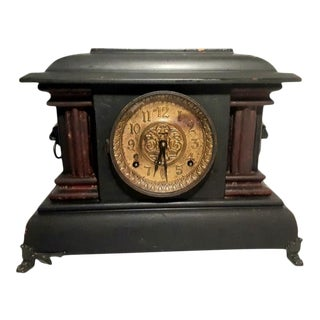 1890s Seth Thomas Antique Adamantine 8 Day Mantle Clock For Sale