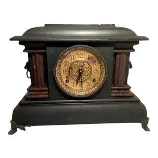 1890s Seth Thomas Antique Double Column Adamantine 8 Day Mantle Clock For Sale