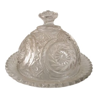 Vintage Cut Glass Lidded Butter Dish