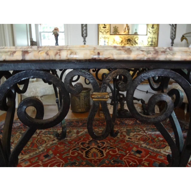 1940s 1940s French Marble Top Wrought Iron Center Table For Sale - Image 5 of 9