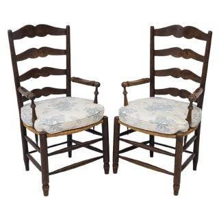 Vintage French Provincial Ladder-Back Armchairs- a Pair For Sale