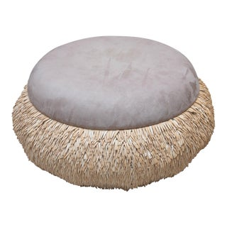 Custom Made Tribal Ottoman in Suede and Wood