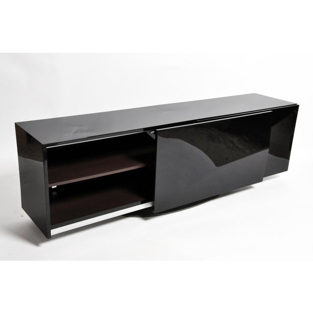 1980s Black Lacquer Console With Sliding Doors For Sale In Chicago - Image 6 of 13