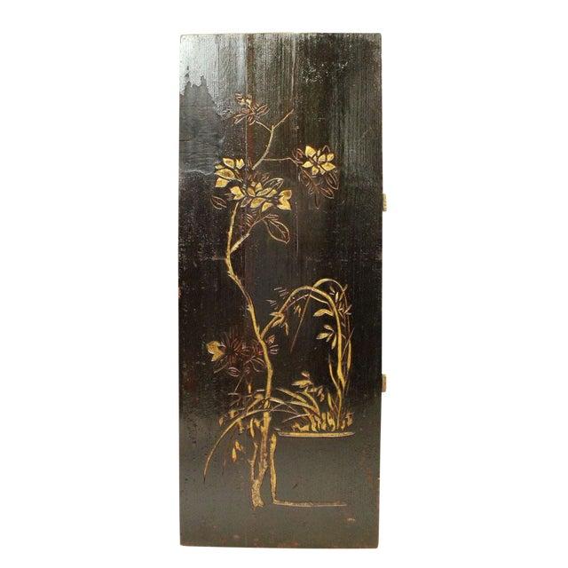 Vintage Restored Flower Carving Wood Panel For Sale