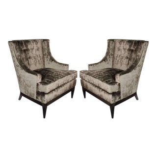 Sophisticated Pair of Mid-Century Modernist High Back Sleigh Design Chairs For Sale