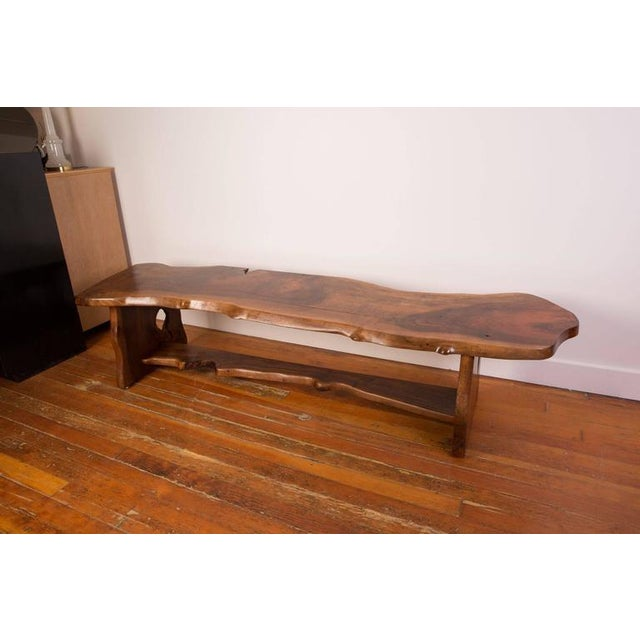 Contemporary Handcrafted Redwood Slab Bench For Sale - Image 3 of 5