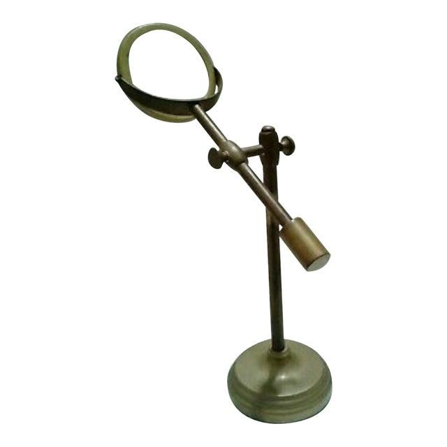 Vintage Sarreid Ltd. Brass Magnifying Glass on Adjustable Stand For Sale