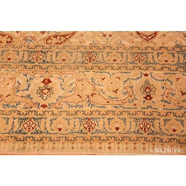 Antique Tabriz Haji Jalili Persian Ivory Background Rug - 9′2″ × 12′9″ For Sale - Image 9 of 10