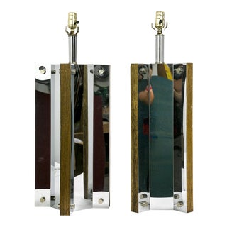 Mid-Century Chrome and Oak Table Lamps