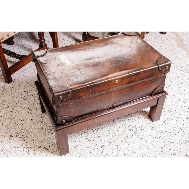 Leather trunk on stand For Sale - Image 4 of 11