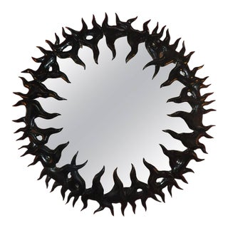 Elegant Black Lacquered Convex Mirror For Sale